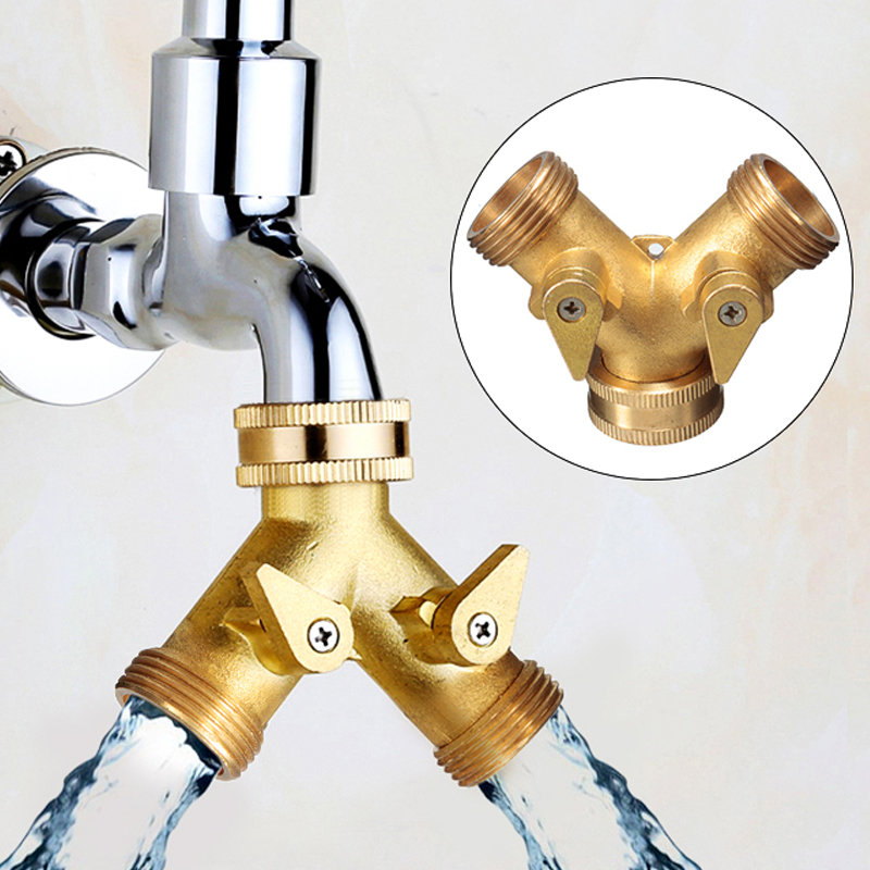 Outdoor Brass Y Shape Two Way Double Water Tap Connector Garden Hose Connector Adapter Solid Sub Feed Garden Irrigation ToolsOutdoor Brass Y Shape Two Way Double Water Tap Connector Garden Hose Connector Adapter Solid Sub Feed Garden Irrigation Tools