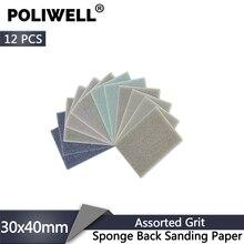 POLIWELL 12 Stuks Rechthoekige Schuren Spons Blok Pad Schuurpapier 400 1000 1500 3000 Grit Schuurmiddelen Schuurpapier Schuren Discs