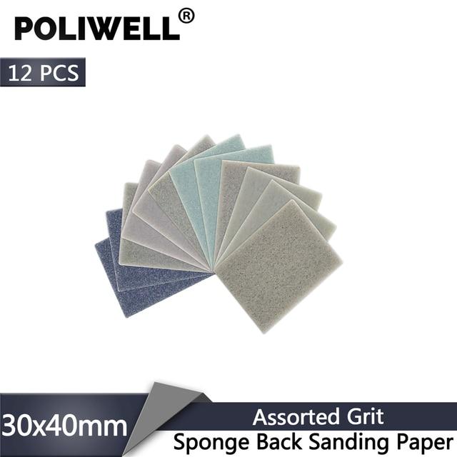 POLIWELL 12Pcs Rectangular Sanding Sponge Block Pad Sandpaper 400 1000 1500 3000 Grit Abrasive Tools Sandpaper Sanding Discs