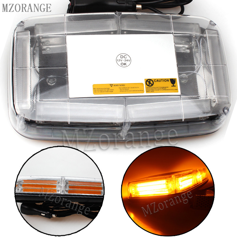 MZORANGE led COB 12v-24V Strobe Warning Trailer Amber Beacon Led Dome Flashing Strobe Emergency Police Light bar amber 30 led emergency strobe flashing warning light 12v 24v yellow warn beacon lights signal lamp for school bus truck atv utv