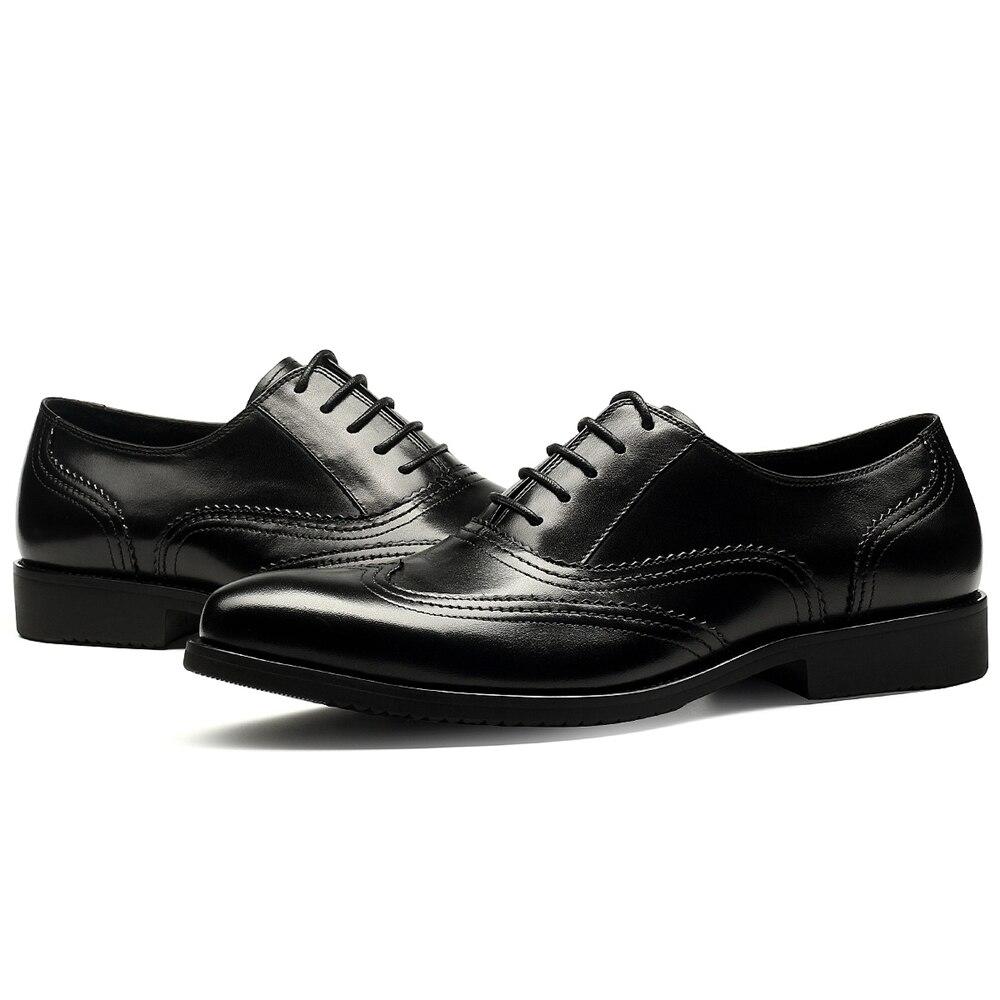 44f653bd06 brown Popular Cavalheiro Qualidade De Vestido Impressão Black Brogue Homens  Negócio Nova 2018 Genuíno Famosa Sapatas Alta Sapatos Dos Couro ...
