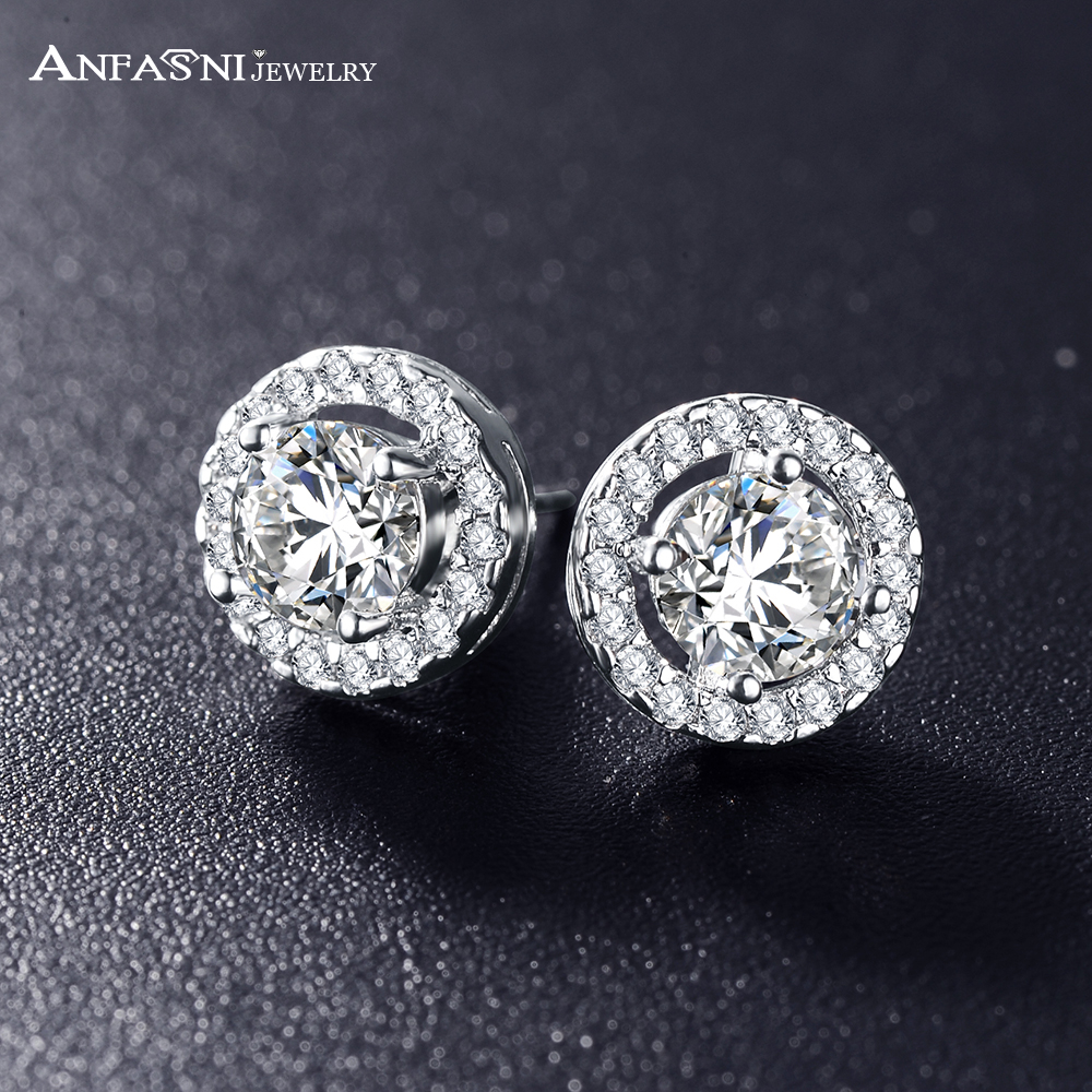 ANFASNI Romantic Jewelry 2016 Stud Earrings For Wedding Elegant Silver Color AAA  Cubic Zirconia Stone Earring CER0002-B
