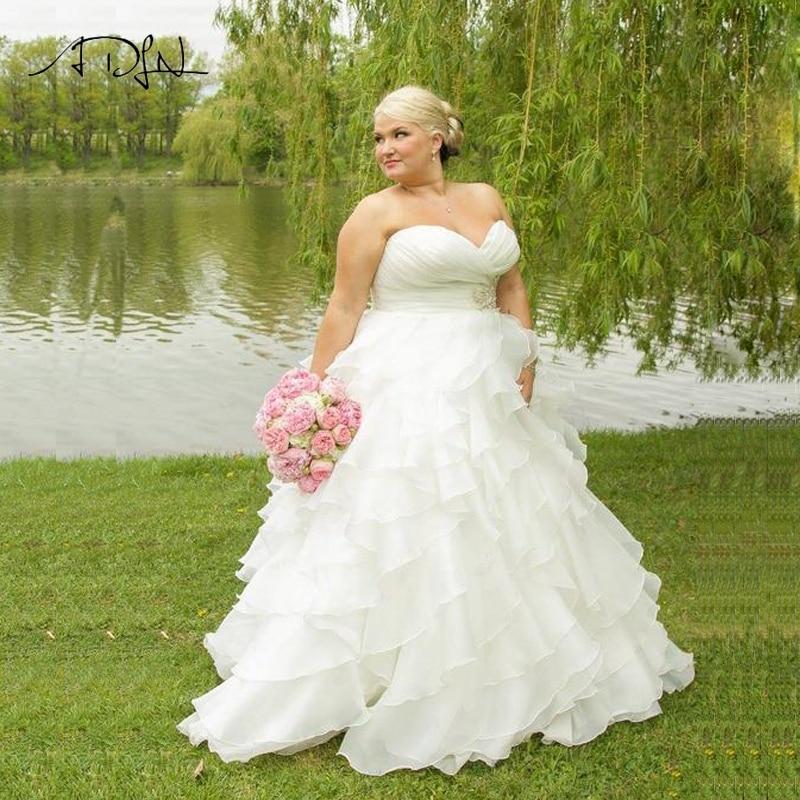 86a0ad513d6 ADLN наличии плюс размеры свадебное платье Милая оборками халат из органзы  De Mariage es заказ свадебные