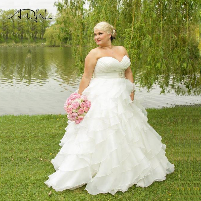 Wedding Gowns With Ruffles: ADLN Stock Plus Size Wedding Dress Sweetheart Ruffles