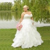 ADLN Stock Plus Size Wedding Dress Sweetheart Ruffles Organza Robe De Mariage Wedding Dresses Custom Bridal Gowns