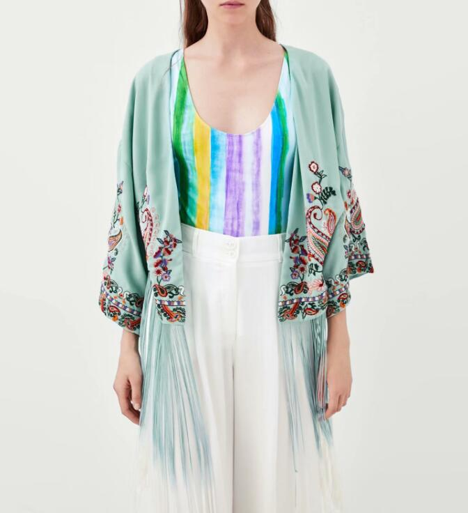 60ce22370 2018SS Fashion Sky Blue Floral Embroidered Kimonos V neck With Long Tassels  Hem Woman Kimono jacket-in Basic Jackets from Women's Clothing on  Aliexpress.com ...