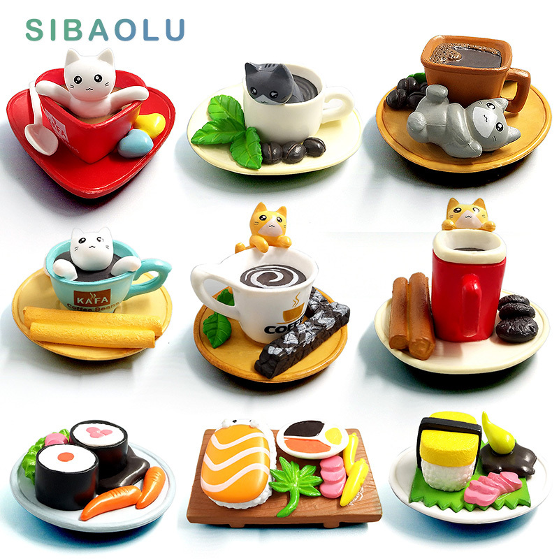 Simpatico sushi Dessert Gatto figurine animale Modello home decor in miniatura fata giardino decorazione accessori moderni Bonsai PVC Ornamento