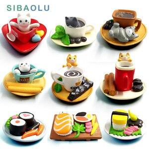 Cute sushi Dessert Cat figurine animal Model home decor miniature fairy garden decoration accessories modern Bonsai PVC Ornament