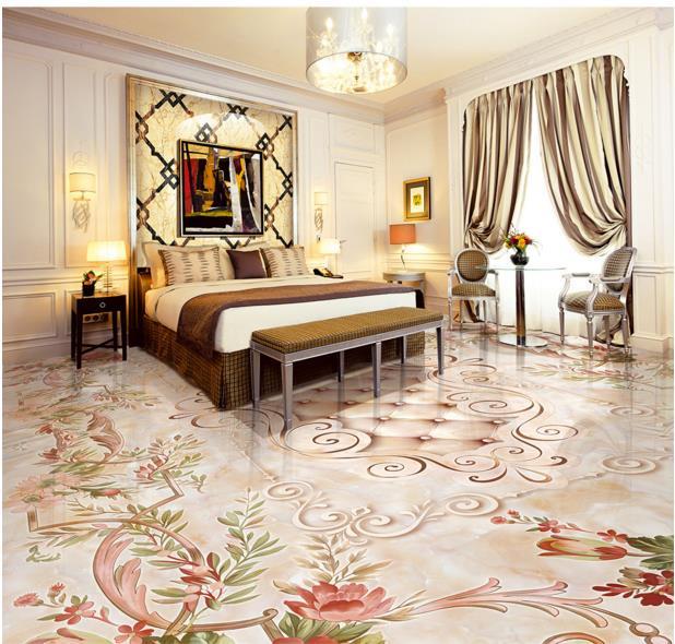 Europea 3d floor murals marble medallion 3d floor self -adhesive waterproof PVC floor wallpaper 3d photo wallpaper
