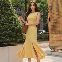 2018 Plus Size Summer Mermaid Dress Women Yellow Sleeveless O neck Mid calf Vintage Elegant Dress Party Club Dresses Moda Mujer