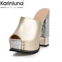 Karinluna Commercio All'ingrosso Superiore Peep Toe Platform Muli Estate Pompe Donna Scarpe Sexy Tacchi Alti Del Partito Scarpe Da Sposa Donna