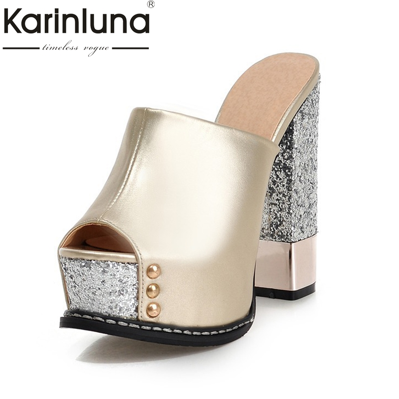 Karinluna Top Quality Wholesale Peep Toe Platform Summer Mules Pumps Women Shoes Sexy High Heels Party Wedding Shoe Woman enmayer cross tied shoes woman summer pumps plus size 35 46 sexy party wedding shoes high heels peep toe womens pumps shoe