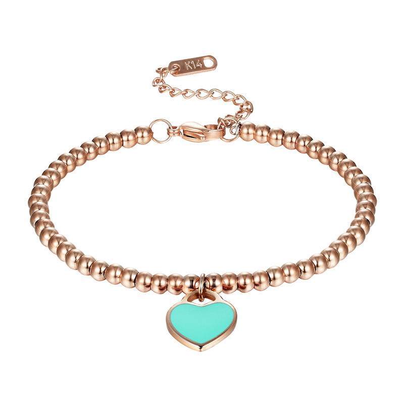 Classic Brand Light Blue And Pink Enamel Heart Charm Bead