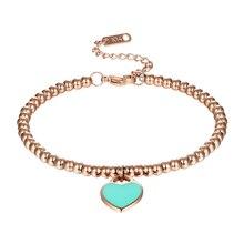 Classic Brand Light Blue And Pink Enamel Heart Charm Bead Bracelet Stainless