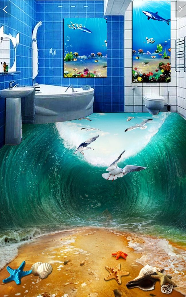 3 d pvc flooring custom wall sticker the waves seabirds - Suelos decorativos 3d ...