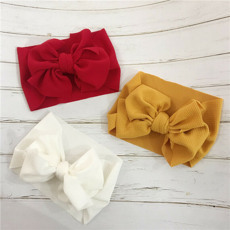 Emmababy Toddler Girls Headwear Big Bow Solid Color Kids Baby Stretch Turban Head Wraps Gifts