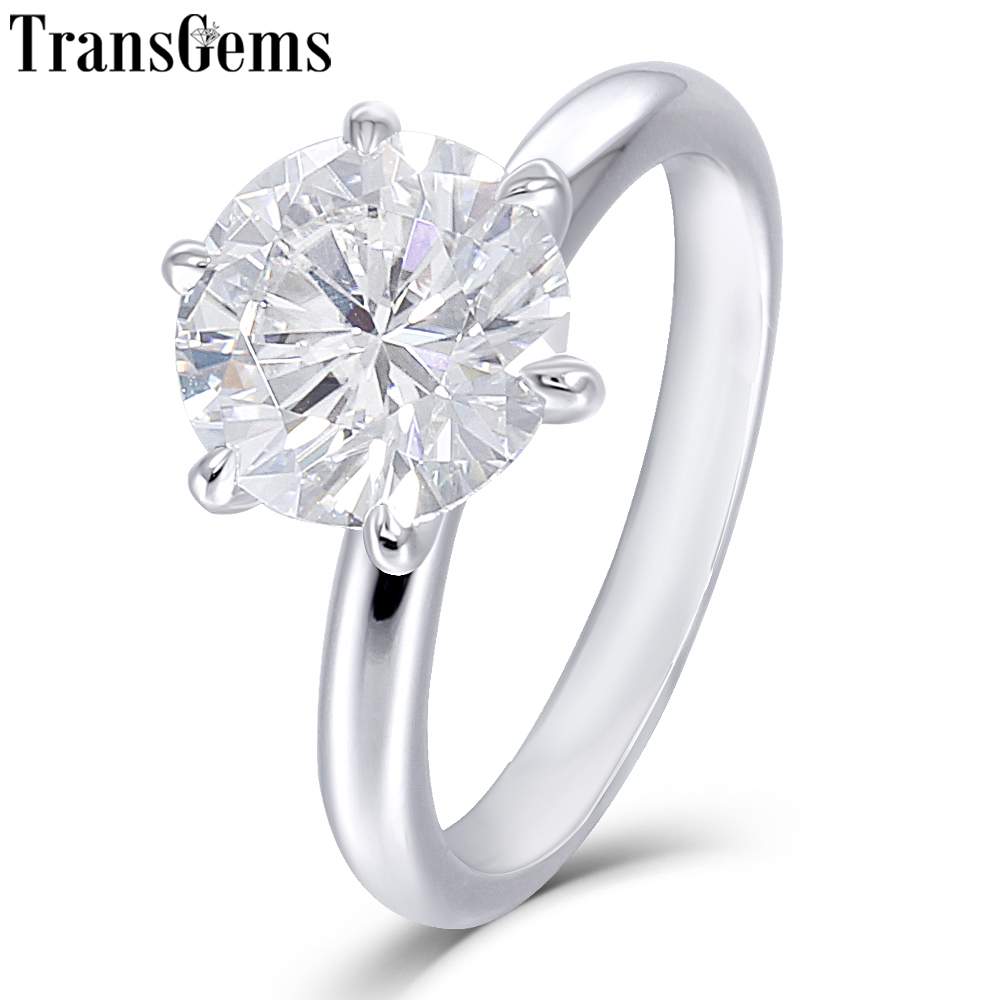 Transgems Solid 10K White Gold 1 5ct 7 5mm Round F Color Moissnaite Engagement Ring for