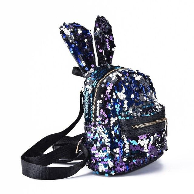 2bc46e59ebe2 1PCS Shinning Bling Sequins Cute Big Rabbit Ears Backpack For Teenager  Girls Mochila Shoulderbag Women Mini Travel Bag Escolar-in Backpacks from  ...