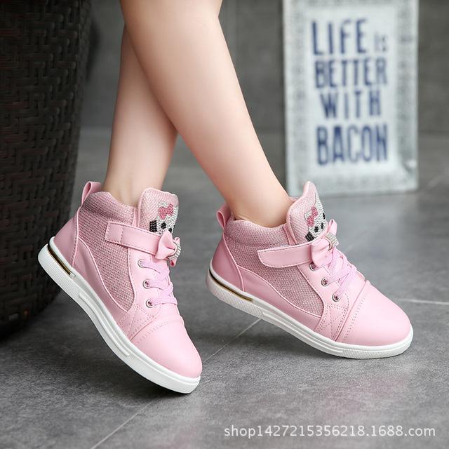 O apring shoes meninas novas das crianças sports shoes coreano casual shoes couro shoes