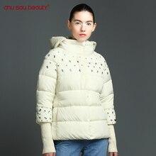 Chusaubeauty Топ Мода 2017 новая зимняя куртка женская с капюшоном утепленная куртка Женская мода теплая верхняя одежда Однобортный парка