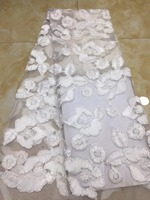 White Net Lace Fabric High Quality Afrian Bridal Fabric 3d Lace Fabric 2018 High Quality Lace For Nigeian African Lace