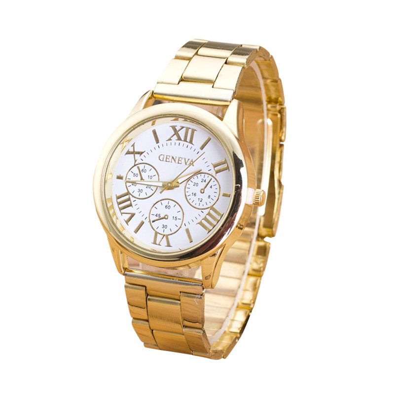 Clock Watch Women Roman Numerals Quartz Gold Stainless Steel Wrist Band Luxury Casual Watches Relogio Feminino High Quality mance women men unisex watches gold stainless steel quartz wrist watch skull pirate quality relogio time clock 2016 hot sale