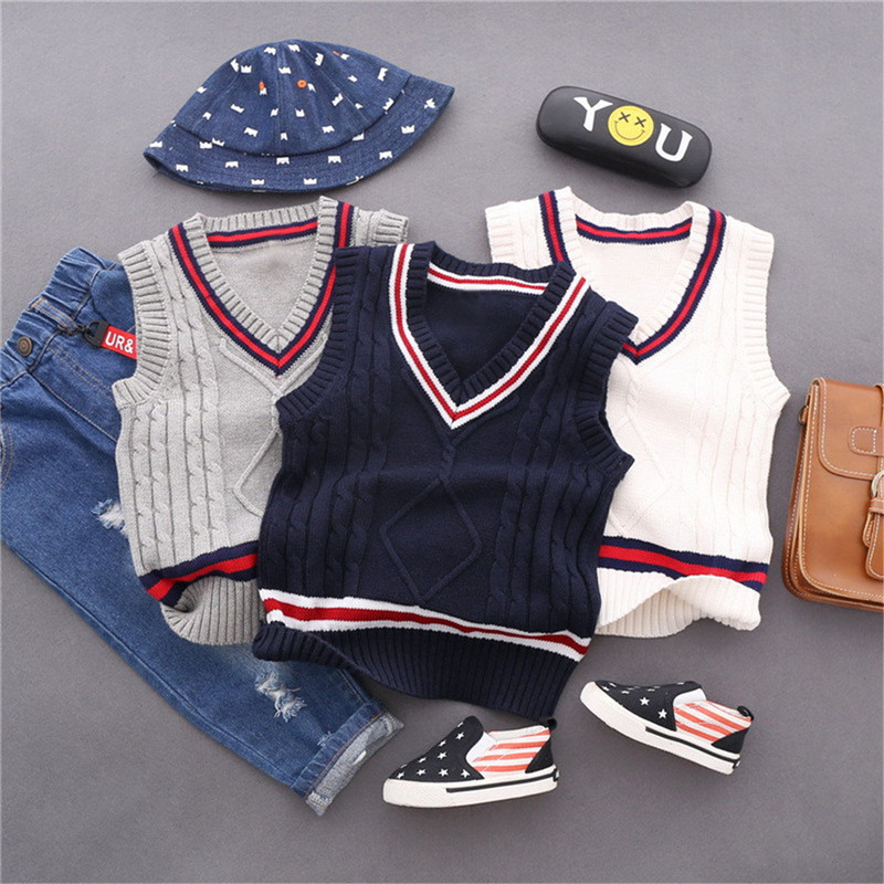 Baby Boy Vest Sweater Childrens Clothing Wholesale 2018 Autumn Boys Sleeveless Kids Winter Pulllover Boys Jumper Casual Clothes