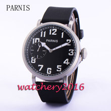 Polished Parnis 46mm black dial 17 jewels 6497 hand winding movement Men's Watch