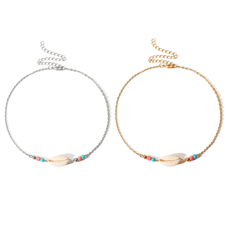 Necklace New Bohemian Beach Jewelry Simple Rope Woven Beads Pulled Shell Clavicle Choker Necklace For Women