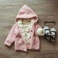 Трикотаж Девушки свитера дети свитера зимы Малышей свитер Теплый Верхняя Одежда Сгущает теплый кардиган Дети детская одежда