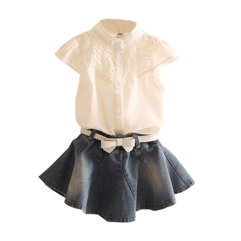 Kids Girl Clothing Set Summer Children's Clothes Child Girls Short Sleeve Tops + Denim Short Skirt baby girls clothings newborn toddler girls summer t shirt skirt clothing set kids baby girl denim tops shirt tutu skirts party 3pcs outfits set
