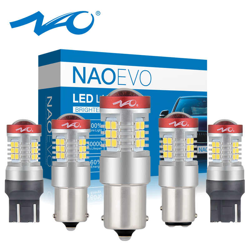 NAO P21W LED T20 PY21W W21/5W 7443 p21/5w 1300LM W21W 1156 Car Bulb 7440 ba15s bay15d Auto DRL Light 1157 red White Amber 12V