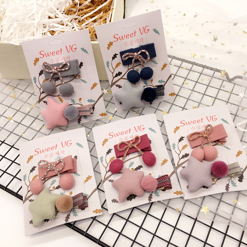 Korea Cotton Flower Cloth Star Strawberry Hair Accessories For Girls Rim Hair Clips Hairpin Bow Hairgrips