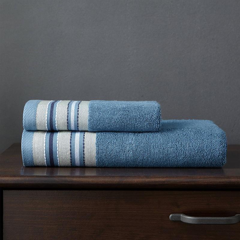 J pinno Towel Set 2pcs Bamboo fiber Blue Brown Bath Hand Towel Adult Medicine Wash Towel