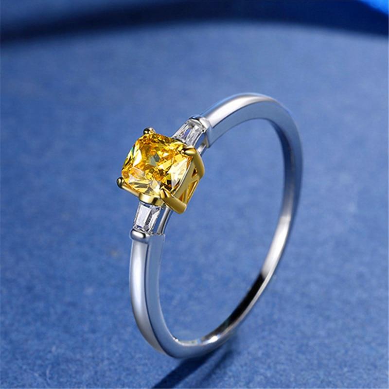 Красочные циркониевые кольца, женские трендовые стильные кольца с имитацией желтого циркона. Роскошные и элегантные, подходят для памятных...