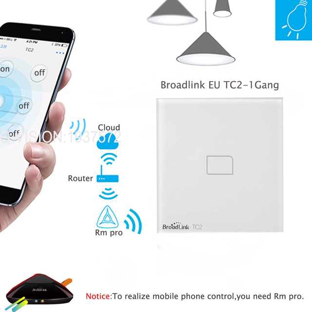 Broadlink TC2 EU Standard 1 2 3 Gang Wifi Light Switch,Wireless Remote Control Touch Screen Switches by RM2 PRO,Home Automation