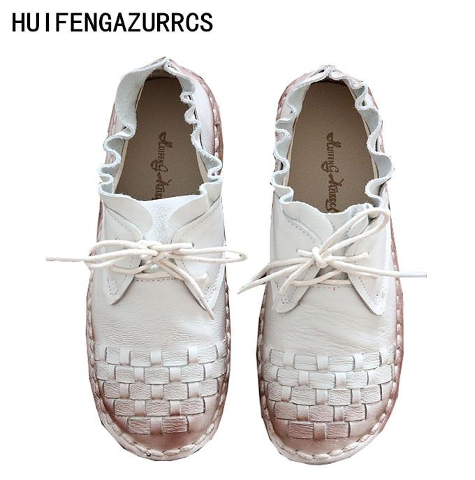 HUIFENGAZURRCS-Pure handmade shoes,the retro art mori girl Flats shoes,fashion casual shoes,Vintage sweet leather shoes ,3colors huifengazurrcs new pure handmade casual