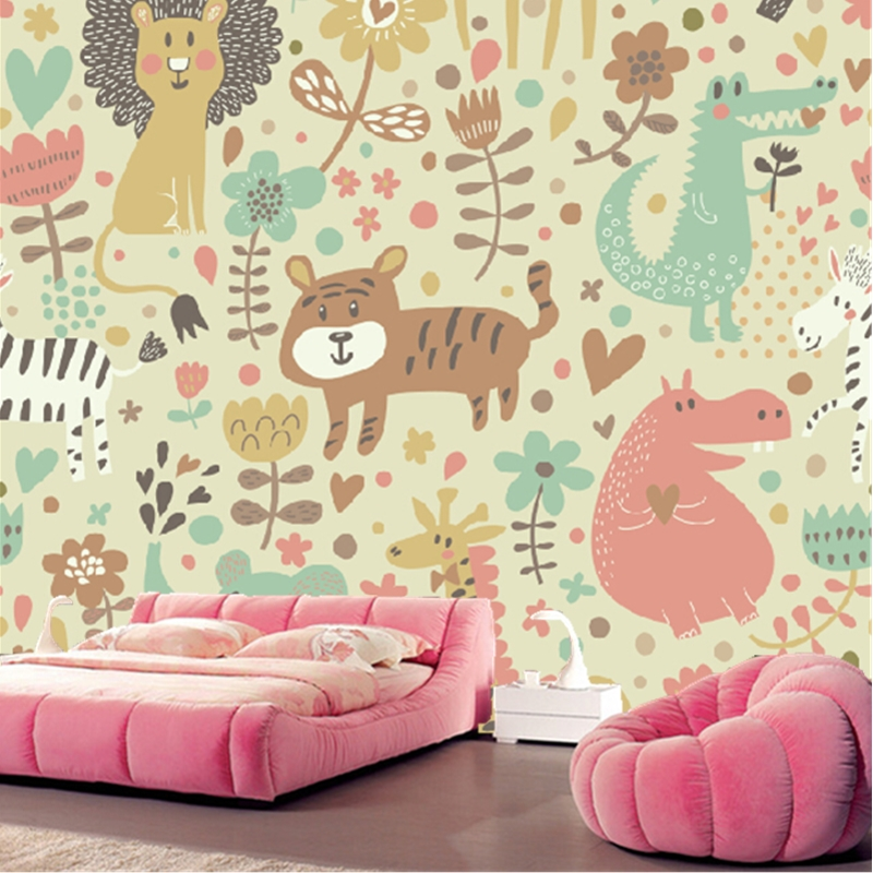 Custom papel DE parede infantil, 3 d cartoon animal murals for children room sitting room bedroom wall waterproof wallpaper custom papel de parede infantil spiderman 3 d mural for bedroom of children room background wall silk cloth wallpaper