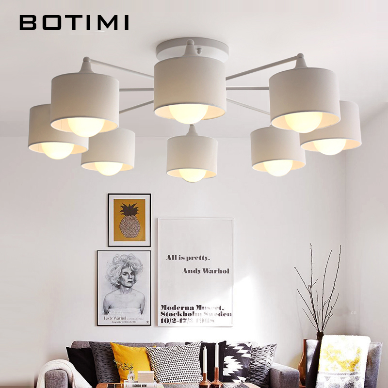 BOTIMI Japaness Ceiling Lights With Lampshades Lamparas de techo Surface Mount E27 Indoor Lamp For Bedroom Living Room Kitchen noosion modern led ceiling lamp for bedroom room black and white color with crystal plafon techo iluminacion lustre de plafond