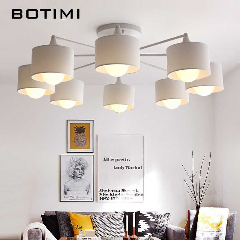 BOTIMI японские потолочные светильники с тканевыми абажурами для фойе белые Lamparas de techo поверхностного монтажа освещение для спальни