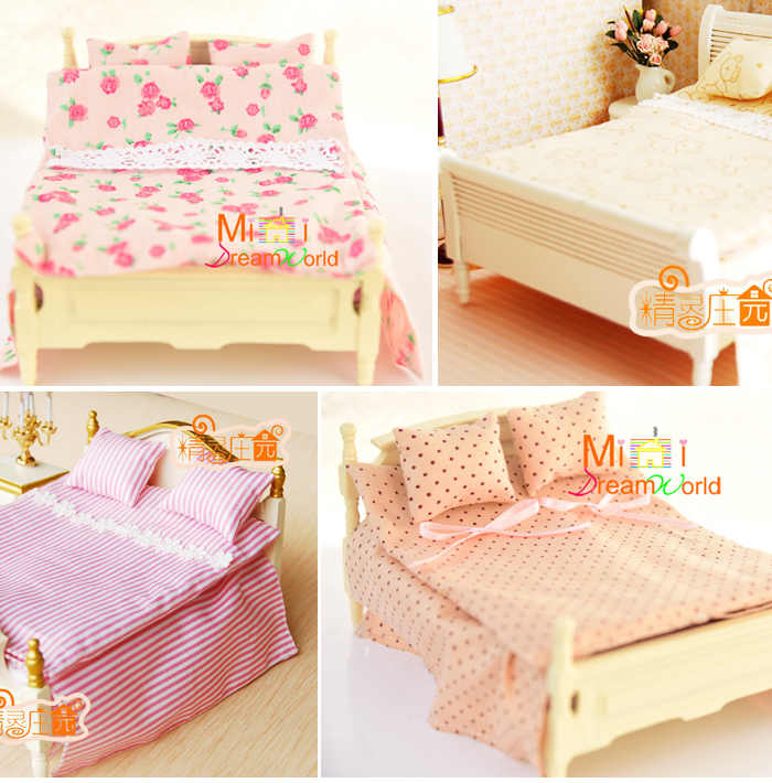 1:12 Cute MINI Dollhouse Miniature bed accessories dollhouse decoration (without bed)