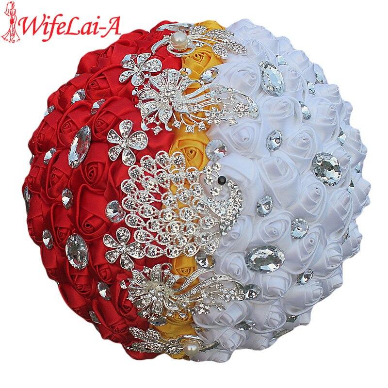 WifeLai-A Custom White Yellow Red Rose Flower Brooch Wedding Bouquets De Noiva Crystal Wedding Bouquets Flowers W243-1