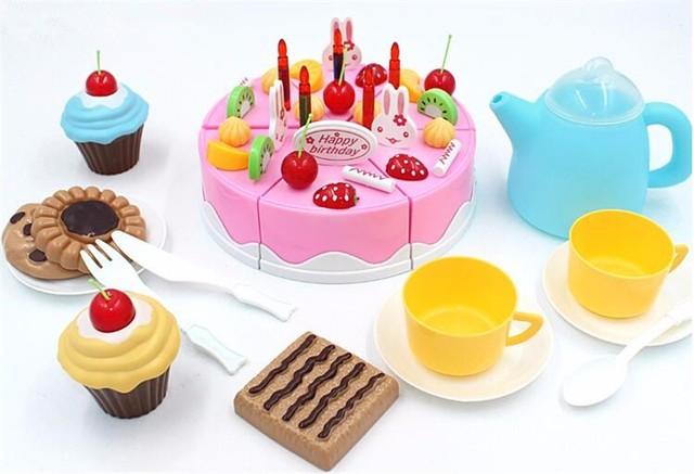54 unids DIY Pastel de Cumpleaños De Corte 5.5 inch Niños Niños Bebé Temprano Educativo del Juguete Clásico Juego de Imaginación Alimento de la Cocina De Plástico juguete