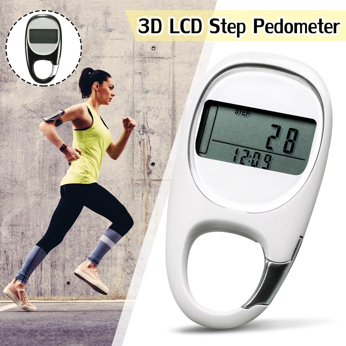 KeyChain 3D Smart Sensor Run Schritt Schrittzähler Karabiner Motion Kalorien LCD Display Zähler Tracker + Taste Batterie + Manuelle