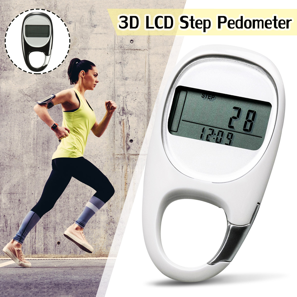 KeyChain 3D Smart Sensor Run Step Pedometer Carabiner Walking Motion Calorie LCD Display Counter Tracker+Button Battery+Manual 1 5 lcd 3d sensor multifunction pedometer storage pedometer black silver 1 x cr2032