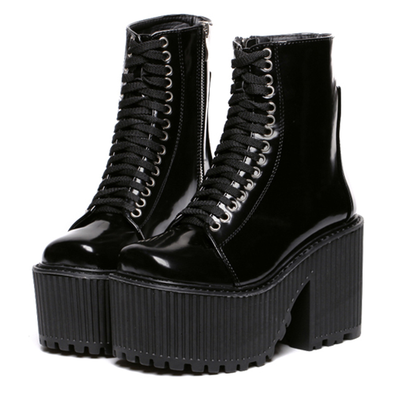 ФОТО Botas Femininas 2015 New Motorcycle Boots Brand Designer Women Boots Platform Shoes Punk Rock Martin Boots Black /White Shoes