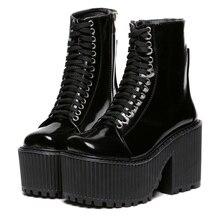 Botas Femininas 2015 New Motorcycle Boots Brand Designer Women Boots Platform Shoes Punk Rock Martin Boots Black /White Shoes