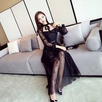 New Spring Women Long Lantern Sleeve Patchwork And Heavy Waist Velvet Dress Clothes Sendlt Dresses Black