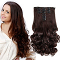 "False Hair Apply 18 Clips in Hair Extension 22"" Long Wavy Curly Synthetic with Clips Clip in Hair Extensions False Hairpiece"