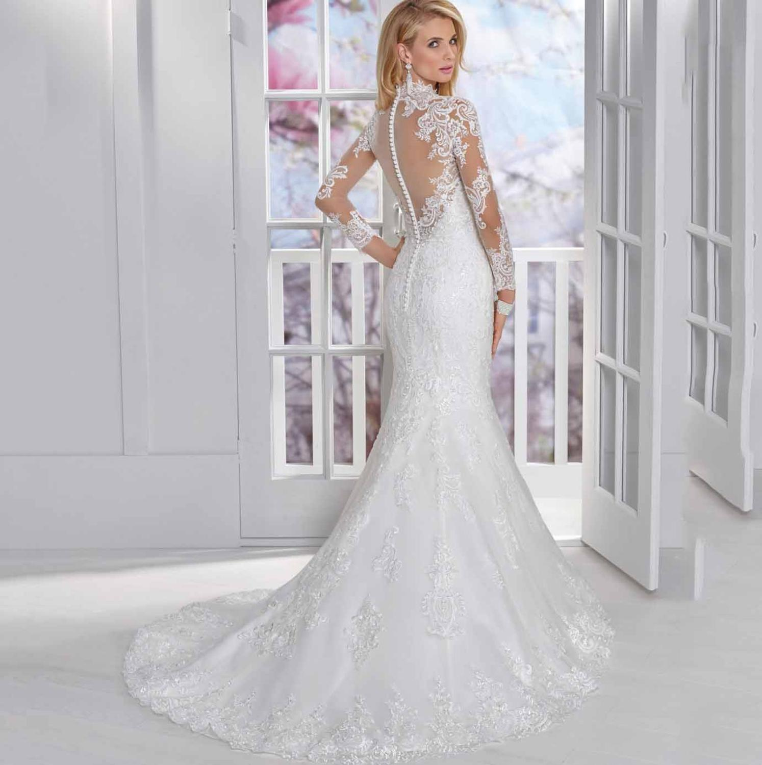 Vintage Elegant High Neck Long Sleeve Wedding Dress For Women Lace Mermaid Illusion Back Court Train Floor Length Bridal Gown in Wedding Dresses from Weddings Events